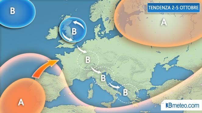 Tendenza 2-5 ottobre: possibile maltempo sull'Italia
