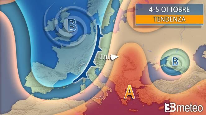 Tendenza 4-5 ottobre, possibile forte maltempo sull'Italia
