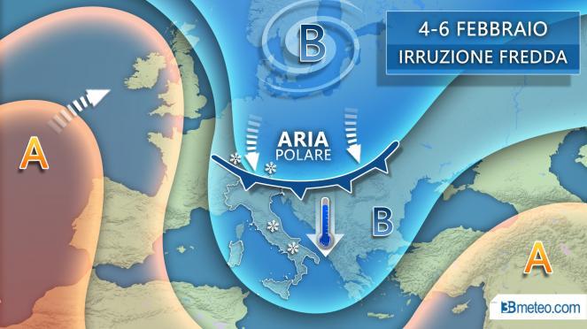 Tendenza 4-6 febbraio: irruzione artica sul Mediterraneo centrale