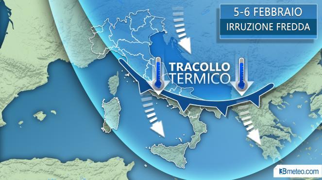 Tendenza 4-6 febbraio: tracollo termico anche sull'Italia