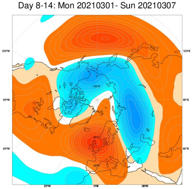 Tendenza meteo 1-7 marzo - Anomalie a 500 hPa su base ECMWF