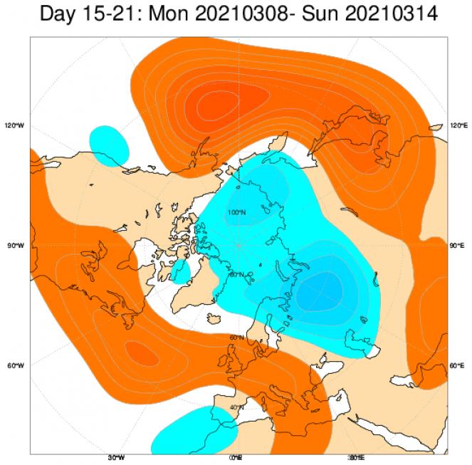 Tendenza meteo 8-14 marzo - Anomalie a 500 hPa su base ECMWF