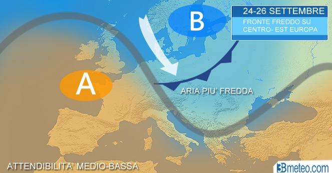 Tendenza meteo: dal 24 settembre braccio di ferro tra anticiclone e fronte freddo