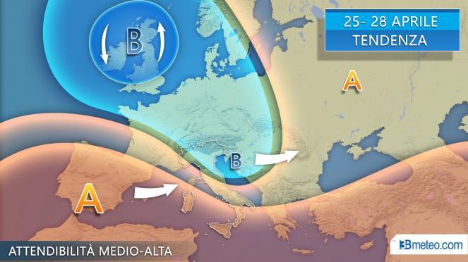 Tendenza meteo dal 25 Aprile al 28 Aprile