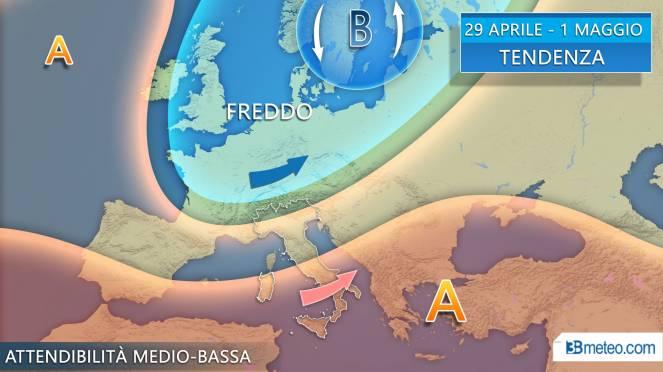 Tendenza meteo dal 29 Aprile al 1 maggio