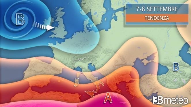 Tendenza meteo dal 7 settembre