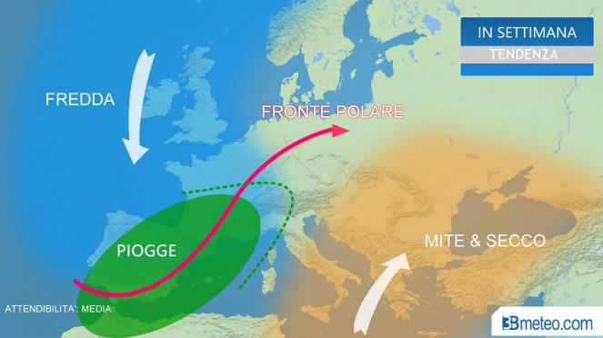 tendenza meteo in Europa in avvio della Primavera