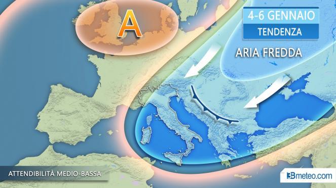 Tendenza meteo Italia - Possibile evoluzione inizio 2019