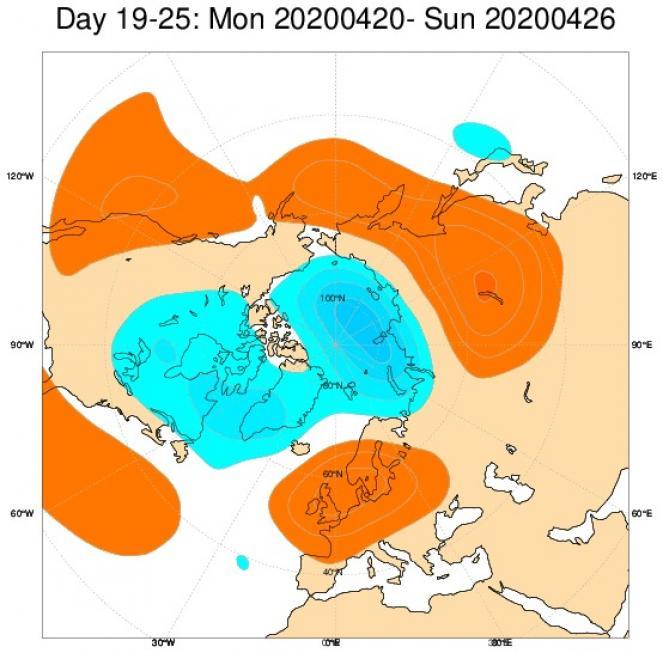 Tendenza meteo: le anomalie di geopotenziale previste nel periodo 20-26 aprile secondo il modello ECMWF