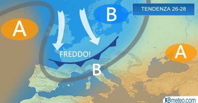 Tendenza meteo per il periodo 26-28 Aprile su Italia ed Europa