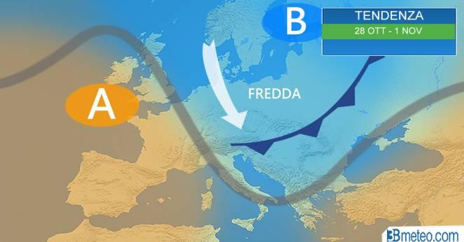 Tendenza meteo per il periodo 28 ottobre-Ognissanti