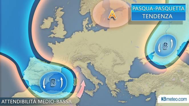 Tendenza meteo per Pasqua e Paquetta, insidie da parte di un vortice dalla Spagna