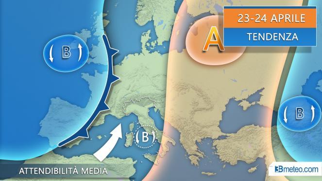 Tendenza meteo periodo 23-24 aprile su Italia ed Europa