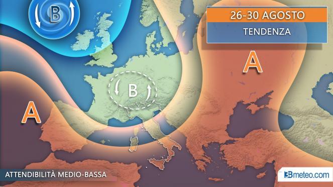 Tendenza meteo: proiezioni per il periodo 25-30 agosto