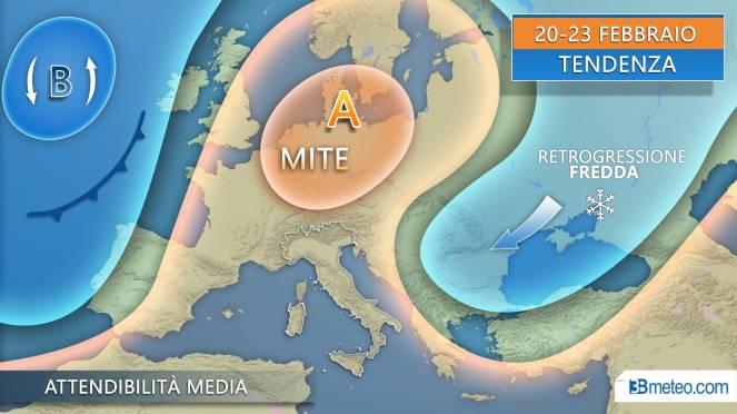 Tendenza meteo: proiezioni per Italia ed Europa nel periodo 22-25 febbraio