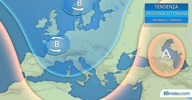 Tendenza meteo: prossima settimana più fredda in Europa e Italia