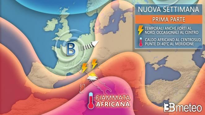 Tendenza meteo prossima settimana, tra forti temporali e caldo africano
