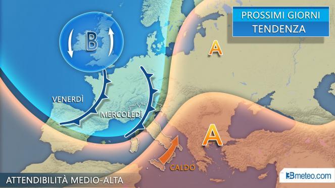 Tendenza meteo prossimi giorni, nuove perturbazioni attese sull'Italia