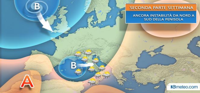 Tendenza meteo: seconda parte settimana a tratti nuovamente instabile