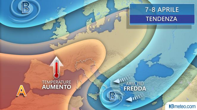 Tendenza meteo sull'Europa dal 7-8 aprile 2020