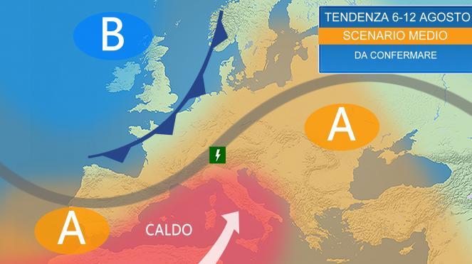 Tendenza meteo sull'Italia fino in prossimità del Ferragosto