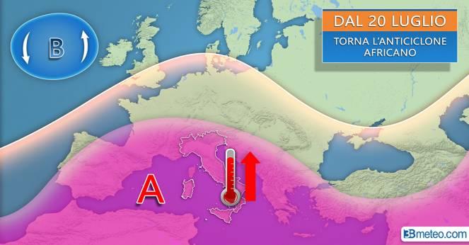 Tendenza meteo: torna l'anticiclone africano dal 20 luglio