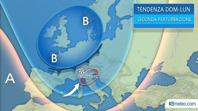 Tendenza meteo: tra domenica e lunedì seconda perturbazione, rischio neve al Nord