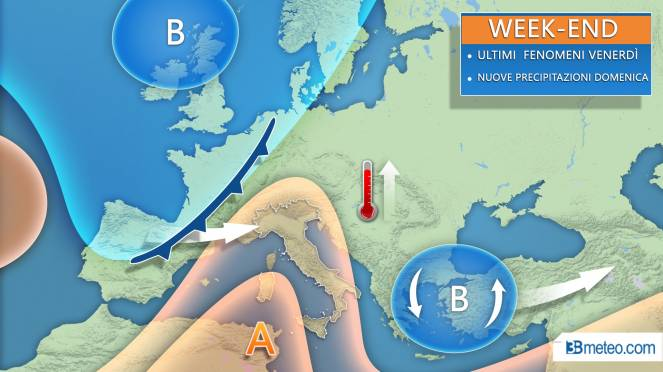 Tendenza METEO tra giovedì e il WEEKEND