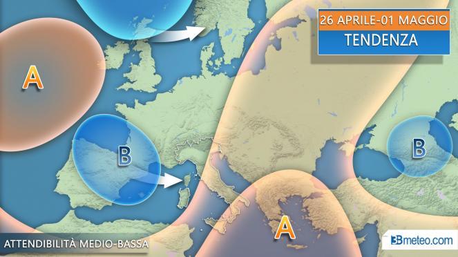 Tendenza meteo tra il 25 aprile e il 1 maggio