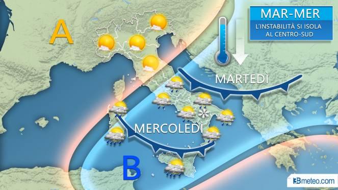 Tendenza meteo tra martedì e mercoledì