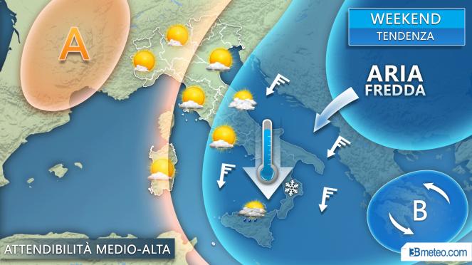 Tendenza meteo weekend: irruzione fredda su parte dell'Italia