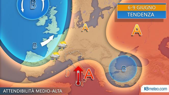 Tendenza seconda parte della settimana, più temporali al Nord, caldo in intensificazione al Sud