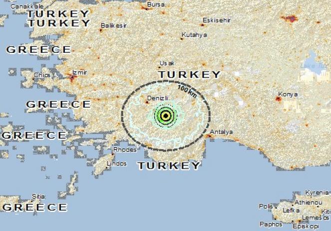 Scossa di terremoto a Serinhisar, Turchia