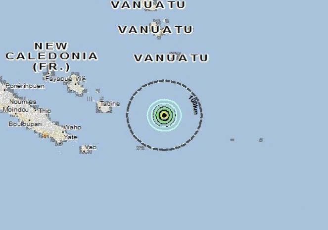 Scossa di terremoto a Tadine, Nuova Caledonia