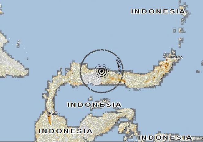 Scossa di terremoto a Bunobogu, Indonesia