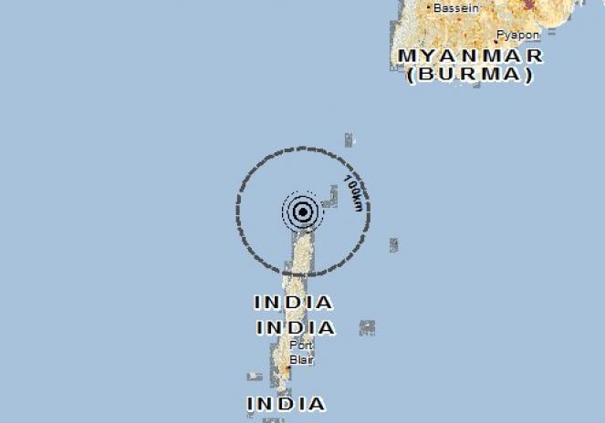 Scossa di terremoto a Port Blair, India