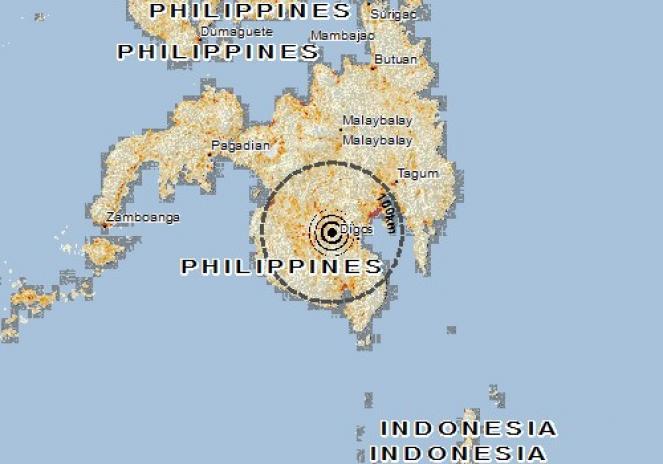 Scossa di terremoto a Tulunan, Filippine