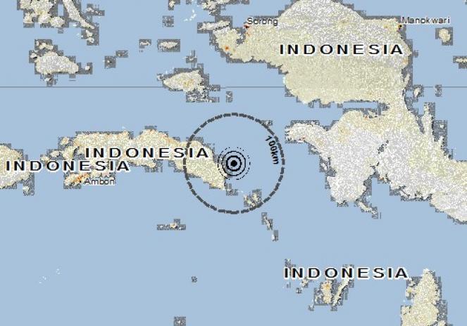 Scossa di terremoto a Bula, Indonesia