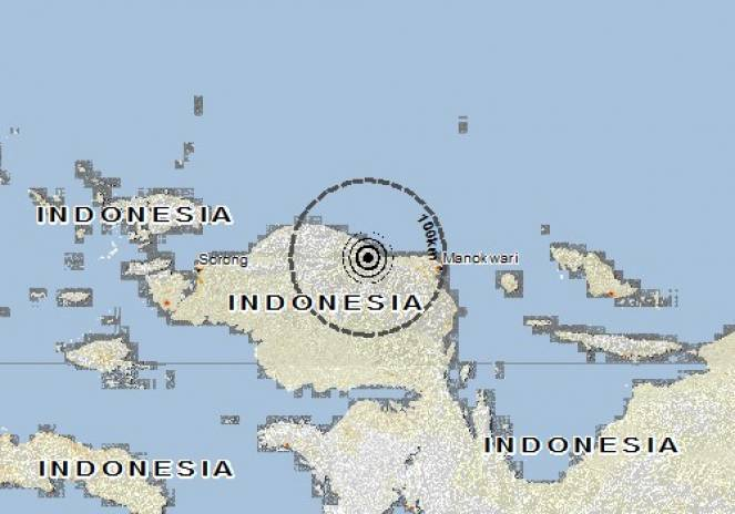 Scossa di terremoto a Kebar, Indonesia
