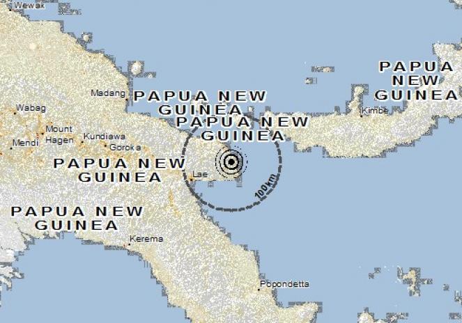 Scossa di terremoto a Lae, Papua-Nuova Guinea