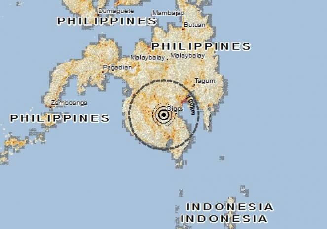 Scossa di terremoto a Columbio, Filippine