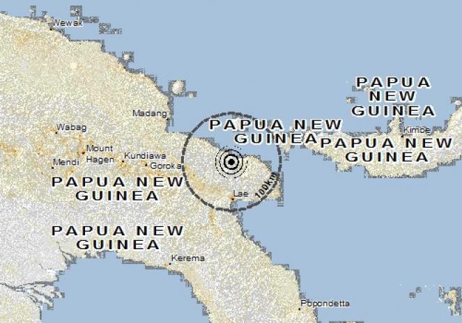 Scossa di terremoto a Nadzab, Papua-Nuova Guinea
