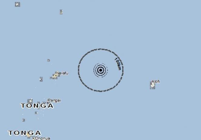 Scossa di terremoto a Neiafu, Tonga