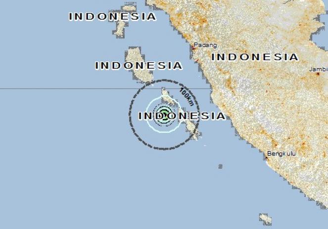 Scossa di terremoto a Tuapejat, Indonesia