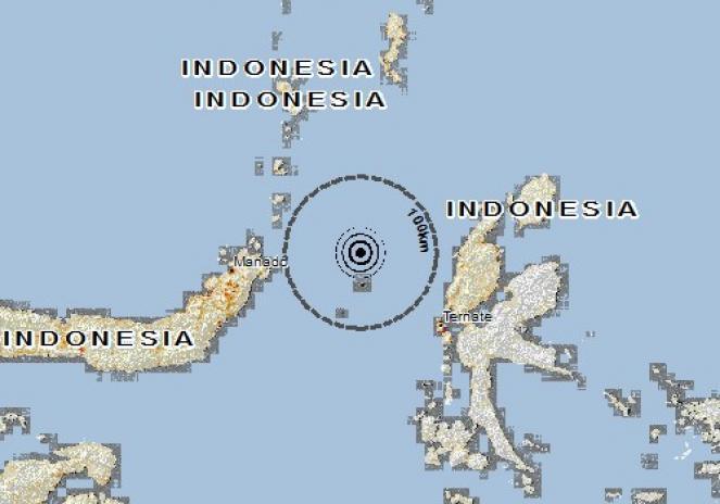 Scossa di terremoto a Bahoi, Indonesia