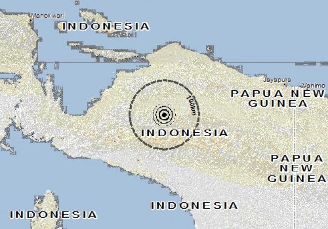 Scossa di terremoto a Mulia, Indonesia