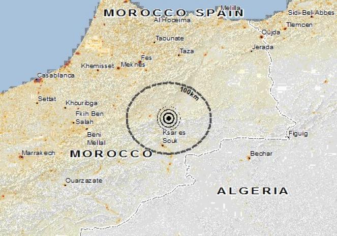 Scossa di terremoto a Ksabi Moulouya, Marocco