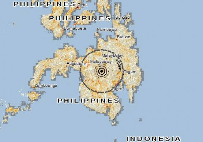 Scossa di terremoto a Kadingilan, Filippine