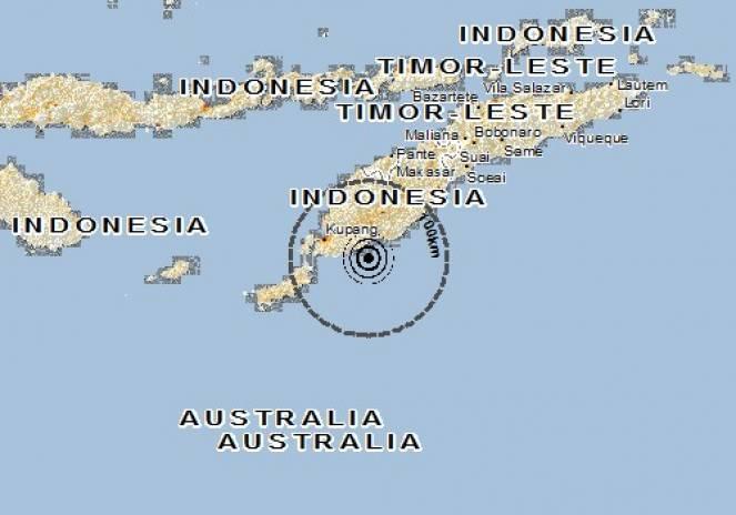 Scossa di terremoto a Oekabiti, Indonesia