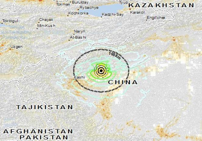 Scossa di terremoto a Jiashi, Repubblica Popolare di Cina